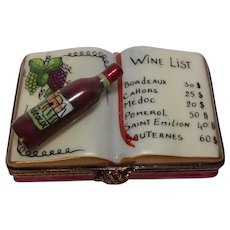 Limoges Wine List Hand Painted Porcelain Pill Box