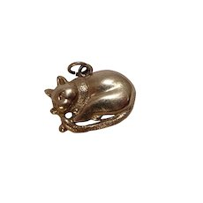Curled Up Cat Charm