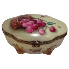 Stunning Rochard Limoges Cherry Hand Painted Porcelain Trinket Pill Box