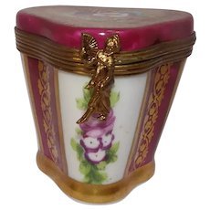 Colorful Limoges Floral Leaf Pill Box