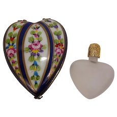 Limoges Hand Painted Floral Heart with Perfume Bottle Porcelain Box