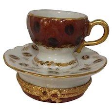 Limoges Coffee Cup and Saucer Porcelain Pill Box