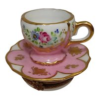 Limoges Floral Teacup and Saucer Porcelain Pill Box