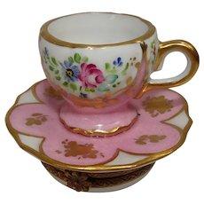 Limoges Floral Teacup and Saucer Porcelain Pill Box