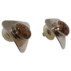Sterling Leopard Agate Triangular Earrings