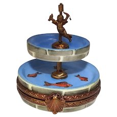 Limoges Hand Painted Fountain with Fish Porcelain Pill Box