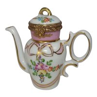 Limoges Floral Coffee Pot by Rochard Porcelain Pill Box