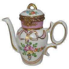 Limoges Floral Coffee Pot by Rochard Porcelain Pill Box