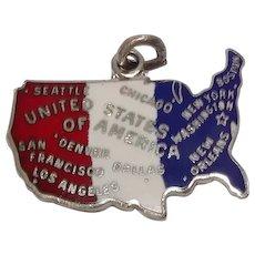 Signed Sterling United States Enameled Charm