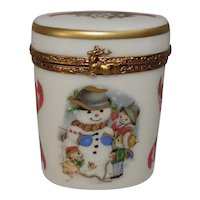 Limoges Christmas Snowman Winter Themed Porcelain Pill Box