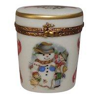 Limoges Christmas Snowman Winter Themed Porcelain Pill Box