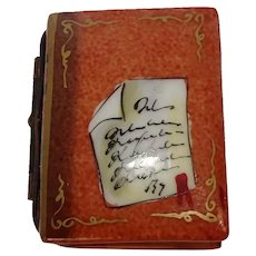 Limoges Hand Painted Book Porcelain Pill Box
