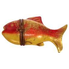 Limoges Hand Painted Fish Porcelain Pill Box