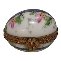 Limoges Hand Painted Floral Egg Porcelain Pill Box Chamart