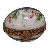 Limoges Hand Painted Floral Egg Porcelain Pill Box Chamart