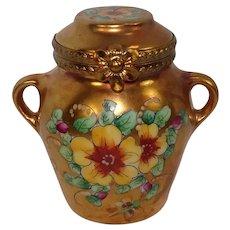 Limoges Golden Floral Urn Hand Painted Porcelain Pill Box
