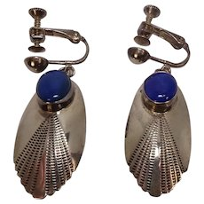 Lapis Sterling Native American Screw Back Earrings