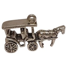 Carriage and Horse Sterling Charm