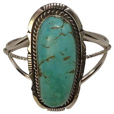 Signed Elongated Turquoise Sterling Cuff Bracelet