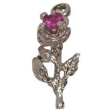 Sterling Flower with Pink Faceted Stone Charm FREE SHIPPING