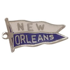 New Orleans Sterling and Enameled Flag Charm