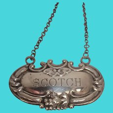 Sterling Scotch Decanter Label or Tag