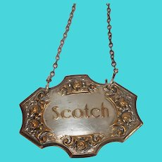 Vintage Scotch Silver Plate Decanter Label