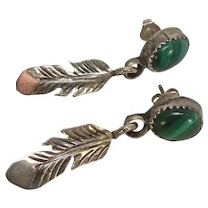Sterling Native American Malachite Feather Earrings