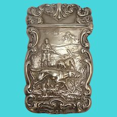 Antique Hunting Scene Sterling Match Safe