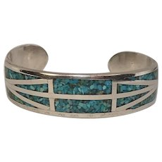 Sterling Inlaid Turquoise Chip Bracelet