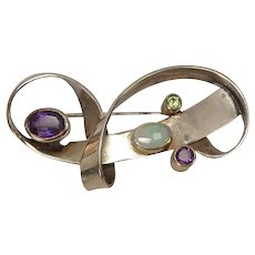 Sterling Ribbon Pin or Brooch with Opal, Amethyst and Peridot