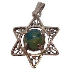 Sterling Filagree Green Stone Star Charm