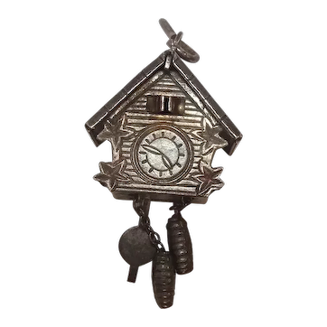 Vintage Mechanical Cuckoo Clock Charm
