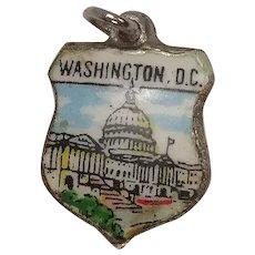 Vintage Washington DC Enameled Shield Travel Charm