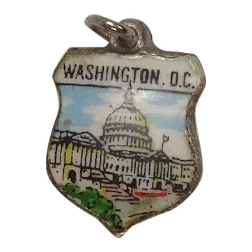 Vintage Washington DC Enameled Shield Travel Charm