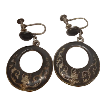 Vintage Siam Sterling Niello Screw Back Earrings