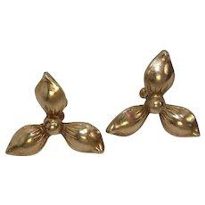 Vintage Floral Sterling Screw Back Earrings