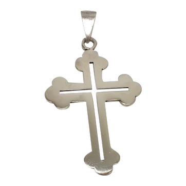 Large Sterling Budded Cross Crucifix Pendant