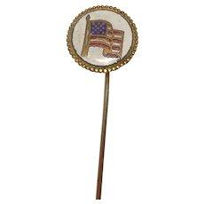 Antique American Flag Stick Lapel Pin