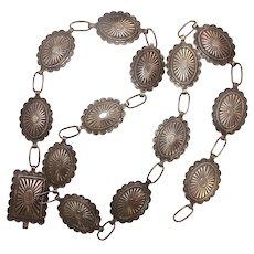 """Vintage Bell Trading Sterling Concho Belt 30"""""""