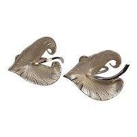 Signed Binder Bros Sterling Leaf Form Screwback Earrings