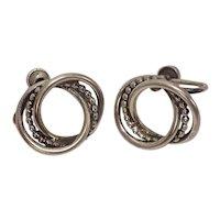 Signed Beau Sterling Loopy Beaded Screwback Earrings