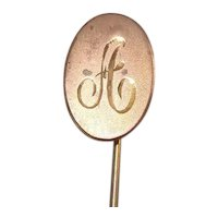 Antique Brass Stick or Lapel Pin monogrammed A