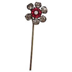 Antique Red Stone Crystal Stick or Lapel Pin