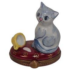 Limoges France Cat and Spilled Milk Porcelain Pill Box
