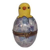 Limoges Chick Hatching from Egg Porcelain Hand Painted Pill Box