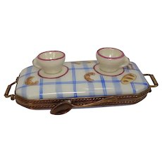 Limoges Hand Painted Tea and Bread Tray Porcelain Pill Box