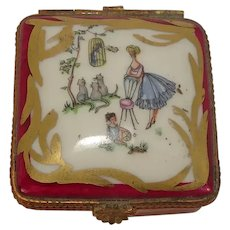Limoges France Woman and Child with Cats Porcelain Pill Box