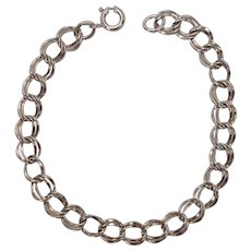 Sterling Double Curb Link Charm Bracelet 7""