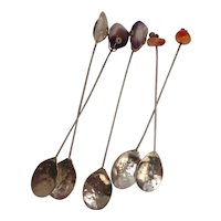 Interesting Sterling Cocktail Spoon Stirrers with Agate Stones and Twist Handles Set of 6